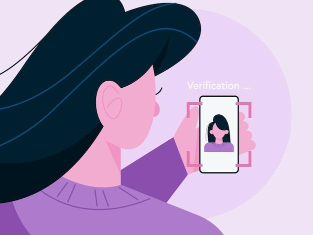 Nowoczesna technologia wykrywania twarzy poprzez skanowanie twarzy kobiety. system weryfikacji. bezpieczeństwo danych osobowych, skaner biometryczny. ilustracja