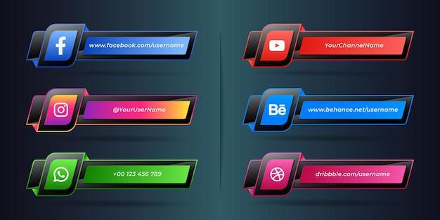 Nowoczesna trzecia kolekcja ikon mediów społecznościowych