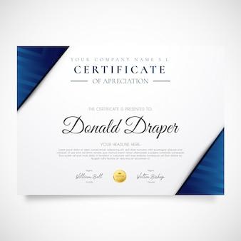 Nowoczesna ulotka certyfikacyjna z niebieskimi kształtami