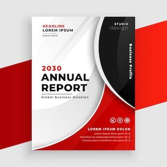 Nowoczesna ulotka rocznego raportu korporacyjnego w kolorze białym i czerwonym