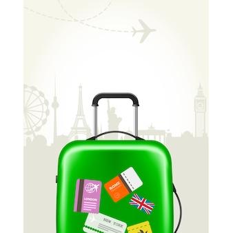 Nowoczesna walizka z metkami podróżnymi - bagaż podróżny