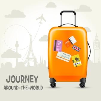 Nowoczesna walizka z metkami podróżnymi - zwiedzanie świata