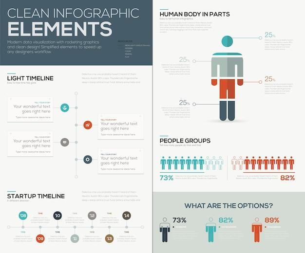 Nowoczesna wizualizacja danych infographic z ludźmi i osiami czasu
