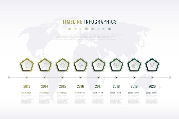 Nowoczesna wizualizacja historii firmy z pięciokątnymi elementami
