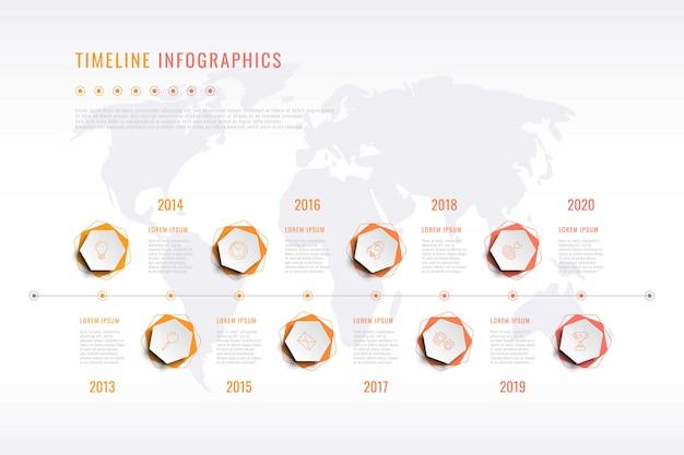 Nowoczesna wizualizacja historii firmy z sześciokątnymi elementami, oznaczeniem roku i mapą świata
