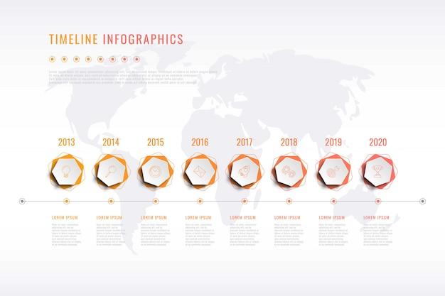 Nowoczesna wizualizacja historii firmy z sześciokątnymi elementami, wskazaniem roku i mapą świata