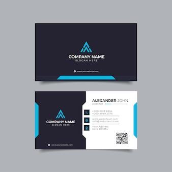 Nowoczesna wizytówka czarno-niebieska elegancka professional