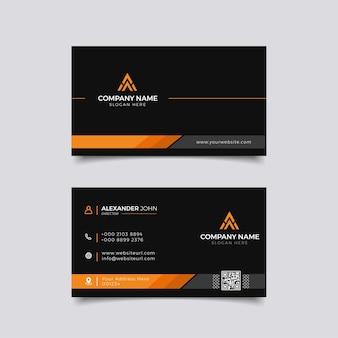 Nowoczesna wizytówka czarno-pomarańczowa elegancka professional
