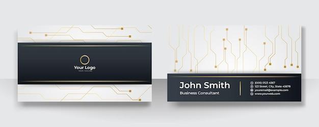 Nowoczesna wizytówka z logo firmy. szablon wizytówki wektor. koncepcja złotej i czarnej sieci technologicznej