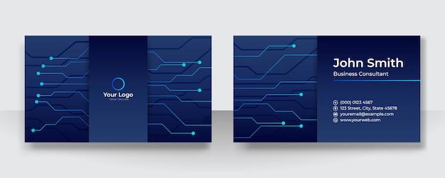 Nowoczesna wizytówka z logo firmy. szablon wizytówki wektor. wizytówka do użytku służbowego i osobistego. wektor ilustracja projektowania technologii tła