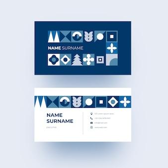 Nowoczesna wizytówka z niebieskimi geometrycznymi kształtami