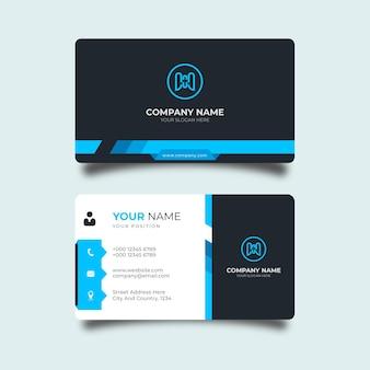Nowoczesna wizytówka z niebieskimi i czarnymi detalami elegancki profesjonalny szablon