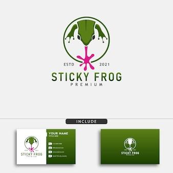Nowoczesna żaba wektor logo lepka żaba ilustracji wektorowych symbol żaby