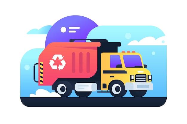 Nowoczesna zbiórka śmieci w mieście w śmieciarce. koncepcja na białym tle sprzątanie miasta