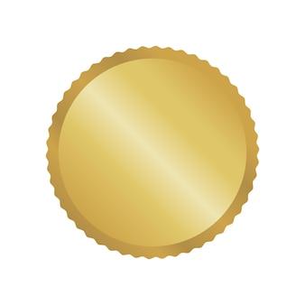 Nowoczesna złota okrągła metalowa odznaka, etykieta i elementy projektu. ilustracja wektorowa.