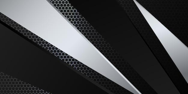 Nowoczesne 3d czarne i srebrne abstrakcyjne tło metaliczne z błyszczącym światłem i dekoracją wzór tekstury.