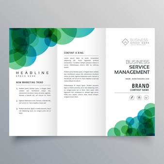 Nowoczesne abstrakcyjna zielone i niebieskie kręgi biznesu trifold broszura szablon
