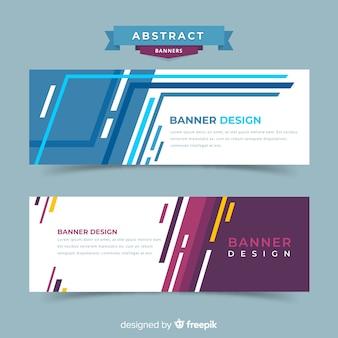 Nowoczesne abstrakcyjne banery z płaskiej konstrukcji