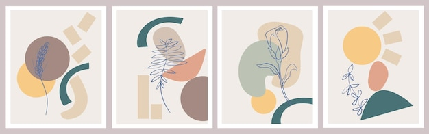 Nowoczesne abstrakcyjne plakaty z minimalnymi geometrycznymi kształtami i botanicznymi kwiatowymi elementami