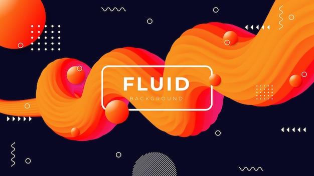 Nowoczesne abstrakcyjne płynne tło z trójwymiarowymi kolorowymi kształtami płynu.