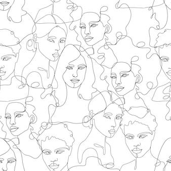 Nowoczesne abstrakcyjne portrety kobiet. ręcznie rysowane szkic ilustracji wektorowych modny. linia ciągła, minimalistyczna koncepcja. wektor wzór.