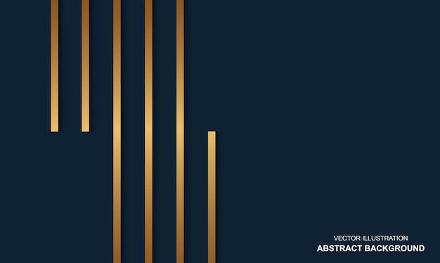Nowoczesne abstrakcyjne tło niebieskie tło ze złotymi liniami