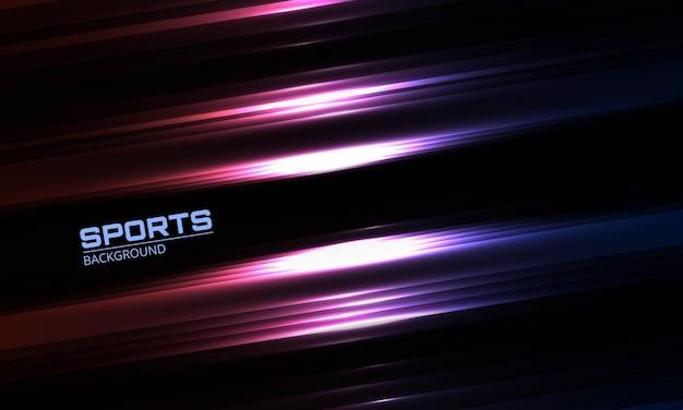Nowoczesne abstrakcyjne tło sportowe z geometrycznymi neonowymi liniami