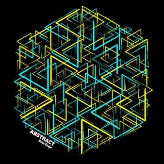 Nowoczesne abstrakcyjne tło w jasnoniebieskich i żółtych kolorach wykonane z losowych trójkątnych linii