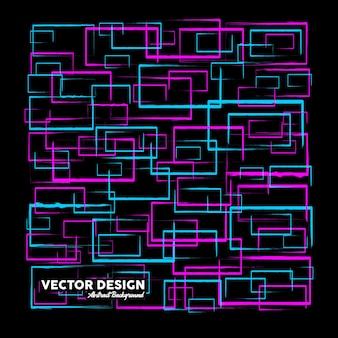 Nowoczesne abstrakcyjne tło w różowych i niebieskich kolorach wykonane z losowych prostokątnych kształtów