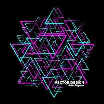 Nowoczesne abstrakcyjne tło wykonane z trójkątnych kształtów w różowych i niebieskich kolorach