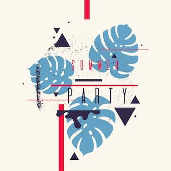 Nowoczesne abstrakcyjne tło z plakatem party wektor płaski