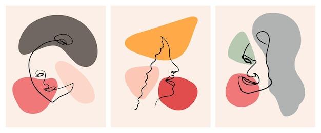 Nowoczesne abstrakcyjne twarze w ręcznie rysowanym stylu konspektu modny portret kobiety w jednej linii