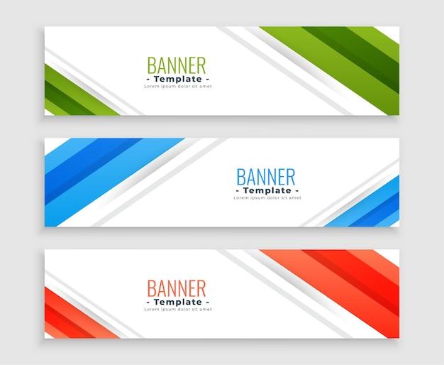 Nowoczesne banery biznesowe w sieci web zestaw trzech szablonów