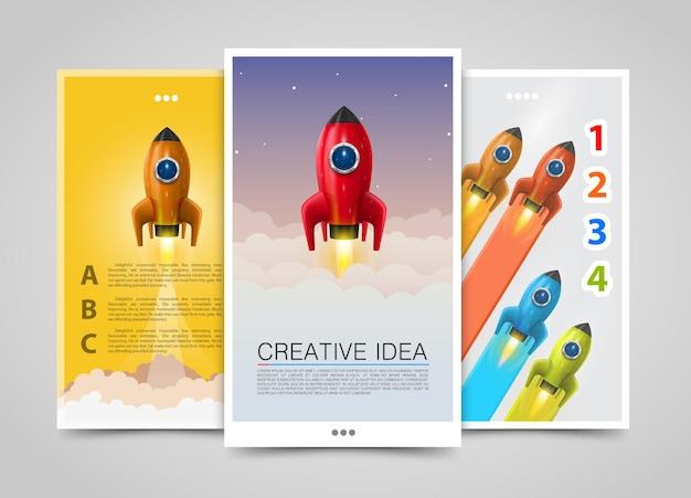 Nowoczesne banery pionowe, kreatywny pomysł, lider 3d, zestaw ulotek rakietowych, okładka infografiki. ilustracja wektorowa