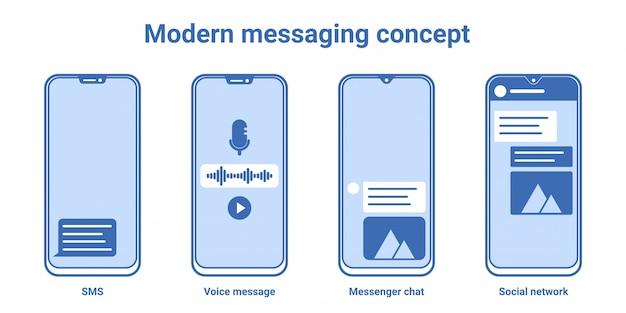 Nowoczesne bezramowe ikony smartphone