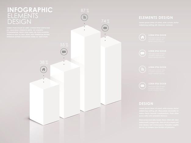 Nowoczesne białe elementy infografiki 3d wykresu słupkowego