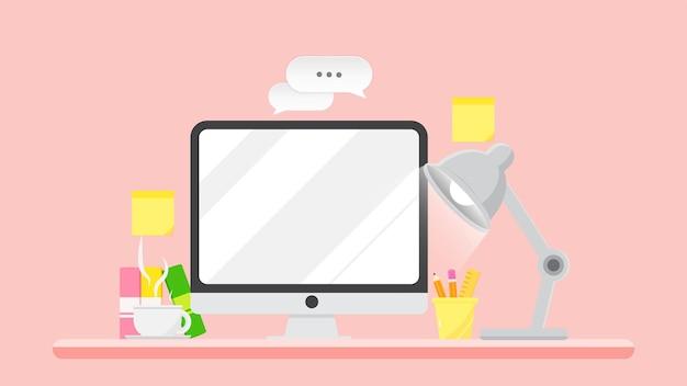Nowoczesne biurko komputerowe z książkową filiżanką kawy płaskiej ilustracji