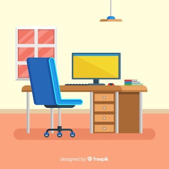 Nowoczesne biurko z płaską konstrukcją