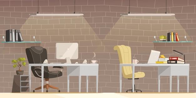 Nowoczesne biuro biurko oświetlenie kreskówka plakat