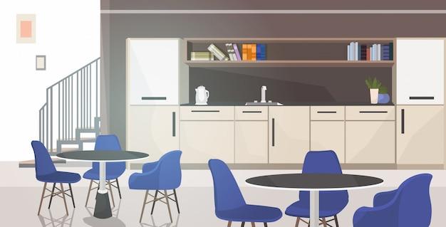 Nowoczesne biuro kuchnia wnętrze puste brak osób jadalnia z meblami