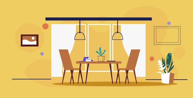 Nowoczesne biuro wnętrze kreatywny współpracujący stół roboczy miejsce pracy z krzesłami pusty bez ludzi gabinet szkic doodle żółty mur