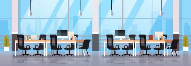 Nowoczesne biuro wnętrze miejsce pracy biurko kreatywne centrum współpracujące przestrzeń robocza