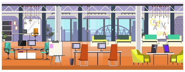 Nowoczesne biuro z panoramicznym oknie ilustracji