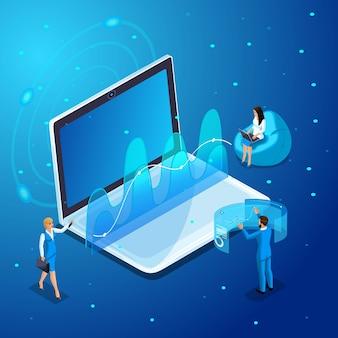 Nowoczesne biznesmenki i kobiety biznesu pracują z gadżetami, wirtualnym zarządzaniem ekranem, pracą z analityką, wykresami i diagramami