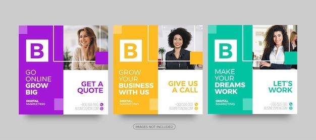 Nowoczesne biznesowe szablony postów w mediach społecznościowych