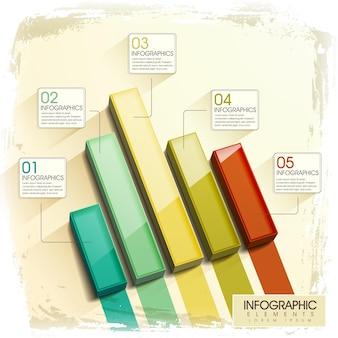 Nowoczesne błyszczące elementy infografiki 3d wykresu słupkowego
