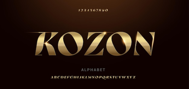 Nowoczesne błyszczące złote alfabetu futurystyczne czcionki typograficzne