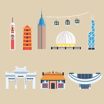 Nowoczesne budynki chińskie, elementy podróży hongkong. zestaw