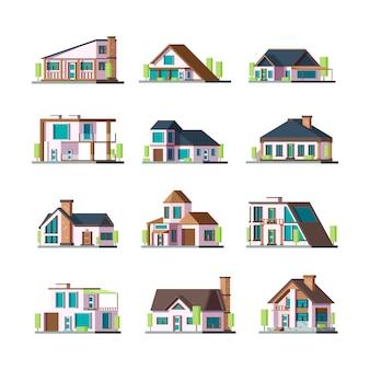 Nowoczesne budynki. domy mieszkalne willa kamienica podmiejskie konstrukcje fasadowe ilustracje wieży