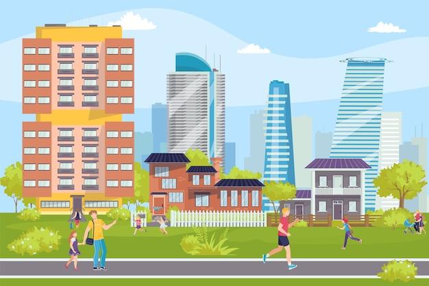 Nowoczesne budynki pejzaż miejski, ludzie na ulicach, ilustracja centrum biznesowe. konstrukcje, wieżowce miejskich krajobrazów. nowoczesna architektura budynków miejskich lub miejskich, biur.